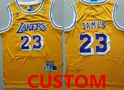 Wholesale Cheap Youth Custom Los Angeles Lakers Yellow Hardwood Classics Jersey