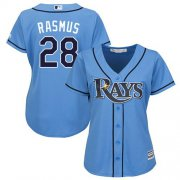Wholesale Cheap Rays #28 Colby Rasmus Light Blue Alternate Women's Stitched MLB Jersey