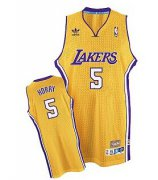 Wholesale Cheap Los Angeles Lakers #5 Robert Horry Yellow Swingman Throwback Jersey