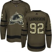 Wholesale Cheap Adidas Avalanche #92 Gabriel Landeskog Green Salute to Service Stitched Youth NHL Jersey