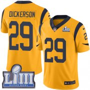 Wholesale Cheap Nike Rams #29 Eric Dickerson Gold Super Bowl LIII Bound Men's Stitched NFL Limited Rush Jersey