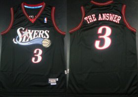 Wholesale Cheap Philadelphia 76ers #3 The Answer Nickname Black Swingman Throwback Jersey