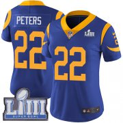 Wholesale Cheap Nike Rams #22 Marcus Peters Royal Blue Alternate Super Bowl LIII Bound Women's Stitched NFL Vapor Untouchable Limited Jersey