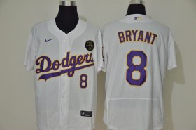 Wholesale Cheap Los Angeles Dodgers #8 Kobe Bryant Men\'s Nike White Purple No. Authentic KB Patch MLB Jersey