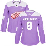 Wholesale Cheap Adidas Red Wings #8 Justin Abdelkader Purple Authentic Fights Cancer Women's Stitched NHL Jersey