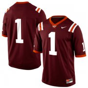 Wholesale Cheap Mens Nike Virginia Tech Hokies #1 Game Football Maroon Jersey