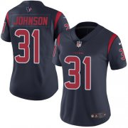 Wholesale Cheap Nike Texans #31 David Johnson Navy Blue Women's Stitched NFL Limited Rush Jersey
