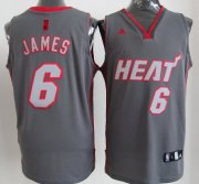 Wholesale Cheap Miami Heat #6 LeBron James Gray Shadow Jersey