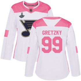 Wholesale Cheap Adidas Blues #99 Wayne Gretzky White/Pink Authentic Fashion Stanley Cup Champions Women\'s Stitched NHL Jersey