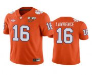 Wholesale Cheap Men's Clemson Tigers #16 Trevor Lawrence Orange 2020 National Championship Game Jersey