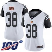 Wholesale Cheap Nike Bengals #38 LeShaun Sims White Women's Stitched NFL Limited Rush 100th Season Jersey