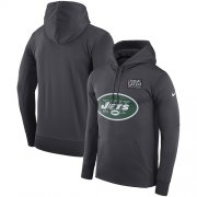 Wholesale Cheap NFL Men's New York Jets Nike Anthracite Crucial Catch Performance Pullover Hoodie