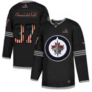 Wholesale Cheap Winnipeg Jets #37 Connor Hellebuyck Adidas Men's Black USA Flag Limited NHL Jersey