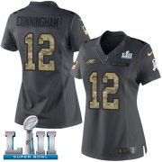 Wholesale Cheap Nike Eagles #12 Randall Cunningham Black Super Bowl LII Women's Stitched NFL Limited 2016 Salute to Service Jersey