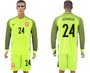 Wholesale Cheap Holland #24 Vermeer Green Long Sleeves Goalkeeper Soccer Country Jersey