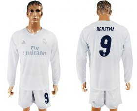 Wholesale Cheap Real Madrid #9 Benzema Marine Environmental Protection Home Long Sleeves Soccer Club Jersey