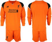 Wholesale Cheap Liverpool Blank Orange Goalkeeper Long Sleeves Soccer Club Jersey