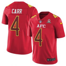 Wholesale Cheap Nike Raiders #4 Derek Carr Red Men\'s Stitched NFL Limited AFC 2017 Pro Bowl Jersey