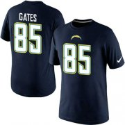 Wholesale Cheap Nike Los Angeles Chargers #85 Gates Pride Name & Number NFL T-Shirt Navy Blue
