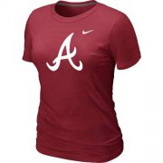 Wholesale Cheap Women's Atlanta Braves Heathered Nike Red Blended T-Shirt