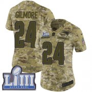 Wholesale Cheap Nike Patriots #24 Stephon Gilmore Camo Super Bowl LIII Bound Women's Stitched NFL Limited 2018 Salute to Service Jersey