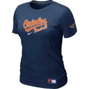Wholesale Cheap Women's Baltimore Orioles Nike Short Sleeve Practice MLB T-Shirt Midnight Blue