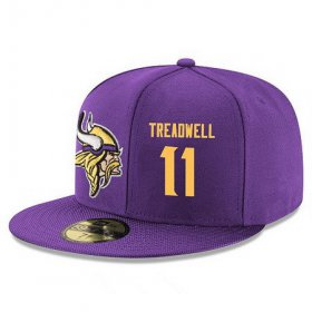 Wholesale Cheap Minnesota Vikings #11 Laquon Treadwell Snapback Cap NFL Player Purple with Gold Number Stitched Hat