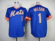 Wholesale Cheap Mitchell and Ness 1983 Mets #1 Mookie Wilson Blue Throwback Stitched MLB Jersey