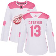 Wholesale Cheap Adidas Red Wings #13 Pavel Datsyuk White/Pink Authentic Fashion Women's Stitched NHL Jersey