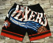 Wholesale Cheap Men's Philadelphia 76ers Black Big Face Mitchell Ness Hardwood Classics Soul Swingman Throwback Shorts