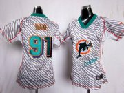 Wholesale Cheap Nike Dolphins #91 Cameron Wake Zebra Women's Stitched NFL Elite Jersey