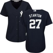 Wholesale Cheap Yankees #27 Giancarlo Stanton Navy Blue Alternate Women's Stitched MLB Jersey