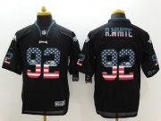 Wholesale Cheap Nike Eagles #92 Reggie White Black Men's Stitched NFL Elite USA Flag Fashion Jersey