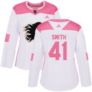Wholesale Cheap Adidas Flames #41 Mike Smith White/Pink Authentic Fashion Women's Stitched NHL Jersey
