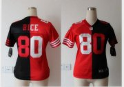 Wholesale Cheap Nike 49ers #80 Jerry Rice Black/Red Women's Stitched NFL Elite Split Jersey