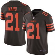 Wholesale Cheap Nike Browns #21 Denzel Ward Brown Men's Stitched NFL Limited Rush Jersey