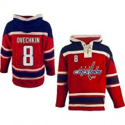 Wholesale Cheap Capitals #8 Alex Ovechkin Red Sawyer Hooded Sweatshirt Stitched NHL Jersey