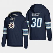 Wholesale Cheap Winnipeg Jets #30 Laurent Brossoit Blue adidas Lace-Up Pullover Hoodie