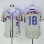 Wholesale Cheap Mets #18 Darryl Strawberry Grey Flexbase Authentic Collection Stitched MLB Jersey