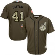 Wholesale Cheap Indians #41 Carlos Santana Green Salute to Service Stitched MLB Jersey