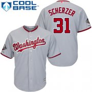 Wholesale Cheap Nationals #31 Max Scherzer Grey Cool Base 2019 World Series Champions Stitched Youth MLB Jersey