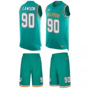 Wholesale Cheap Nike Dolphins #90 Shaq Lawson Aqua Green Team Color Men's Stitched NFL Limited Tank Top Suit Jersey