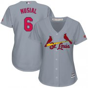 Wholesale Cheap Cardinals #6 Stan Musial Grey Road Women's Stitched MLB Jersey