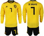 Wholesale Cheap Belgium #7 De Bruyne Away Long Sleeves Soccer Country Jersey