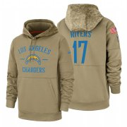 Wholesale Cheap Los Angeles Chargers #17 Philip Rivers Nike Tan 2019 Salute To Service Name & Number Sideline Therma Pullover Hoodie