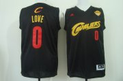 Wholesale Cheap Men's Cleveland Cavaliers #0 Kevin Love 2017 The NBA Finals Patch Black With Red Fashion Jersey