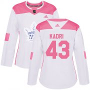 Wholesale Cheap Adidas Maple Leafs #43 Nazem Kadri White/Pink Authentic Fashion Women's Stitched NHL Jersey