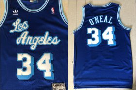 Wholesale Cheap Lakers 34 Shaquille O\'Neal Blue Hardwood Classics Mesh Jersey