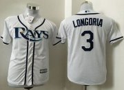 Wholesale Cheap Rays #3 Evan Longoria White Cool Base Stitched Youth MLB Jersey