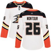 Wholesale Cheap Adidas Ducks #26 Brandon Montour White Road Authentic Women's Stitched NHL Jersey